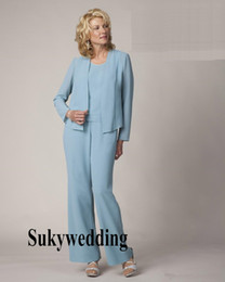 $enCountryForm.capitalKeyWord NZ - Light Blue Chiffon Mother Of The Bride Pant Suits Elegant Women Formal Evening Dresses Plus Size Simple Wedding Party Dress Custom Made