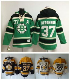 bruins jersey sweatshirt UK - Top Quality ! Boston Bruins Old Time Hockey Jersey 37 Patrice Bergeron Black Green Cream Hoodie Pullover Sports Sweatshirts Winter Jacket
