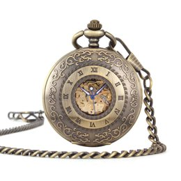 Glass Magnifier Gold Australia - Mechanics Will Pocket Watch Necklace Fully Automatic Restore Ancient Ways Renovate Magnifier
