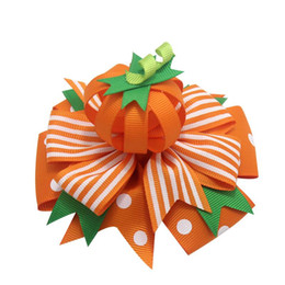 Red haiR halloween online shopping - 4 Inch Halloween Hair Bows Clips For Girls Kids With Pumpkin Ribbon Hairgrips Trick Or Treat Festival Party Headwear Hair Accessories