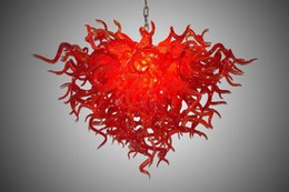 heart shaped light bulbs NZ - Dale Chihuly Style Murano Red Glass Chandelier Light with LED Bulbs Heart Shaped Customized Red Blown Glass Hanging Glass Art Chandelier