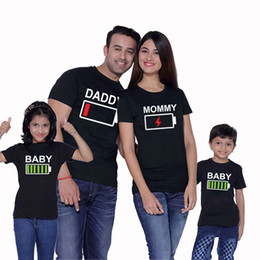 e936e534c Matching Father Daughter Shirts Australia - Family Pack Casual T-Shirt  Battery Lightning Letter Printing