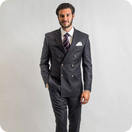 Beige Slim Suits For Men Australia - Gray Men Suits For Wedding Suits Double Breasted Formal Slim Fit Groom Wear Blazer Tuxedos Business Suits 2Pieces Best Man Prom Jacket+Pants