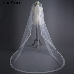 bridal veils for cheap Australia - JaneVini 3 Meters Veil Wedding Ivory Veil for Bride One Layer Sequins Cathedral Long Bridal Veil Cheap Wedding Accessories
