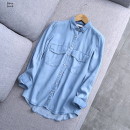 woman blouse basic Australia - 2019 Blouse New 100% Cotton Arrival Women Blue Cotton Spring Denim Shirt Female Basic Solid Pockets Buttons Drop Shipping