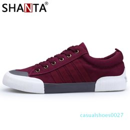 vulcanized canvas shoes Canada - SHANTA 2019 Men Canvas Shoes Fashion Solid Color Men Vulcanized Shoes Lace-up White Casual Shoes Men Sneakers chaussure homme