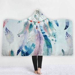 dreams beds NZ - New Arrivals Feather Plush Hooded Blanket Dream catcher Pattern Winter Thick Fleece Throw Blankets On Bed Sofa For Adults Kids