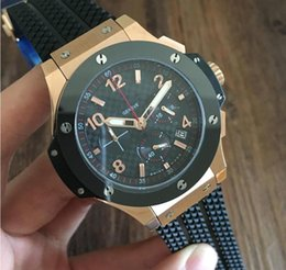 Wholesale High Quality HB MM Classic Sport Mens Watches Silver Case Quartz Chrono Watch With Black Rubber Band Christmas Gift