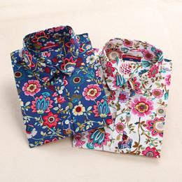 Cotton Cherry Australia - 2019 Floral Women Blouses Long Sleeve Shirt Cotton Women Shirts Cherry Casual Ladies Tops Animal Print Blouse