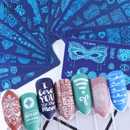 Print Nail Art Australia - 2pcs Steel Charms Stamping Nail Stamp Plate Oval Rose Lace Printing Mold Stencils Sets for Nail Art Accessories CHSTZ-BE01-16