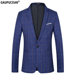 casual male fashion blue suit blazers Australia - Easy Care Fashion Plaid Slim Man Suit Jacket Quality Male Checked Blue Red Black Casual Spring Autumn One button Men Blazer