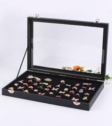Ring Case Holder Displays Australia - Jewelry Rings Display Tray Storage Box Show Case Organiser Holder with Lid - Black Velvet 100 Slot Ring Ear Studs Cases