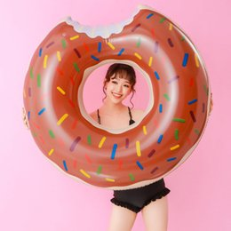 kids donut float Canada - 60CM Inflatable Donut Swimming Ring Giant Pool Float Toy Circle Beach Sea Party Inflatable Mattress Water Adult Kid