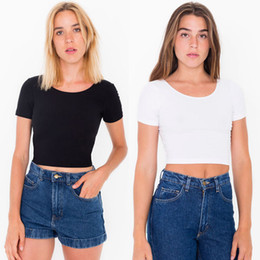 Wholesale basic t shirt lady for sale – custom Women O Neck T shirts Sexy Crop Top Short Sleeve Tops Ladies Basic T shirt Casual Summer Fashion Slim Fitting Corset