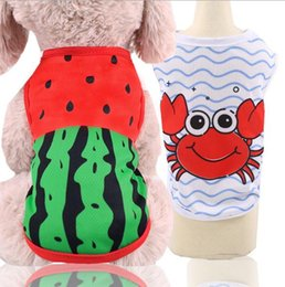 Clothes For Small Teddy Australia - Newest Summer Pet Dog Mesh Vest For Small Medium Dog Clothes Printed crab watermelon Vests Shirts Teddy Puppy Chihuahua Coat Apparel