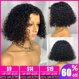 short curly bob wigs Canada - 13x4 lace front wig Brazilian kinky curly human hair wig short bob lace front wigs human hair wigs for women non-remy