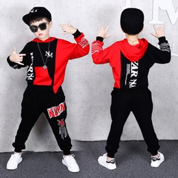 Discount boys dance trousers - 2 Pieces Suit Kids Teenage Boys Clothing Sets Hip-hop Dancing Sports Tracksuits Cotton Hooded Top + Trousers Boys Autumn