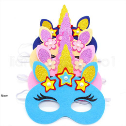 blue unicorn toy UK - Led felt unicorn masks non-woven Party Cosmetics Luminous decoration kids birthday gift toy Party props half face FFA2654