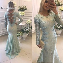$enCountryForm.capitalKeyWord Australia - Full Lace Applique Evening Dresses Wear For Women Jewel Neck Long Sleeves Illusion Mermaid Beads Arabic Sheer Back Party Prom Gowns
