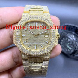 AutomAtic christmAs light online shopping - All Ice Diamond Deluxe Golden Watch Fully Automatic Machinery L Stainless Steel Super Night Light Diameter mm Free Freight