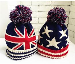 Novelty Hair Hats Wholesale Australia - Quality Designer Knit Pom Beanies National Flag Head Warmer For Children Sport Skull Snow Cap Winter Fancy Womens Hair Bucket Hats