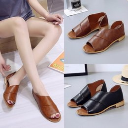 Discount code sandals - Mini2019 Code Will Leisure Time Low Fish Mouth Ma'am Package With Rome Shoes Side Air Sandals Woman Tide