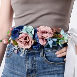 $enCountryForm.capitalKeyWord Australia - New Fashion Women Girls Waist Belts Long Ribbon Chain Flower Belt Girls Wedding Bridal Waistband For Party Dress Accessories