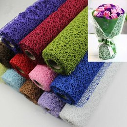 Gift Wrapping Paper Rolls NZ - 5Yard*50cm Roll DIY Flower Gift Decoration Wrapping Packing Crepe Papers Mesh Handmade Materials Jacquard Flowers Material MMA1263