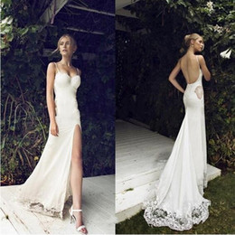 White cut floWers online shopping - 2019 New Sexy Spaghetti Straps Flower Lace Appliques Side Cut Out Backless Bridal Gowns Summer High Slit Beach Wedding Dresses