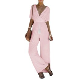 d1412b29b56 2019 New Sexy Women Flared V Neck Jumpsuit Drawstring Waist Short Sleeve  Jumpsuit Pants Solid Color Romper Playsuit One Piece