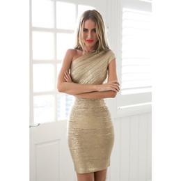 Wholesale stamp dresses resale online – Gold Stamp One Shoulder Bandage Dress Hot Sale Women Mini Dresses Celebrity Party Club Bodycon Sleeveless Empire Vestido