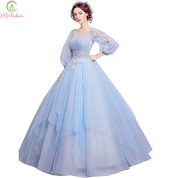 a57d0ad6ab11 wholesale Sweet Light Blue Flower Fairy Princess Prom Dress Transparent Long  Sleeves Sequined Party Ball Gown Robe De