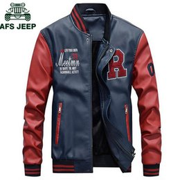 0dbd45ffd7a AFS JEEP Embroidery Baseball Jackets Men Letter Stand Collar Pu Leather Coats  Plus Size 4XL Fleece Pilot Leather Jacket hombre