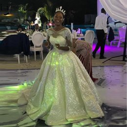 $enCountryForm.capitalKeyWord Australia - Sparkly Sequins Ball Gown Wedding Dresses Arabic Dubai Glitter Bridal Wedding Gowns Half Sleeve Vestido de noiva Plus Size