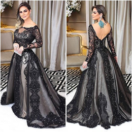 Fantastic evening dresses online shopping - Fantastic Long Sleeve Evening Dresses Bateau Neck Beads Lace Applique Backless Mermaid Prom Gowns Arabia Celebrity Dress Party Gown