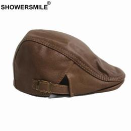 Duckbill hats men online shopping - SHOWERSMILE Khaki Flat Cap for Men Women Real Leather Beret Hat Cowhide Solid Male Female Winter New Duckbill Ivy Hats