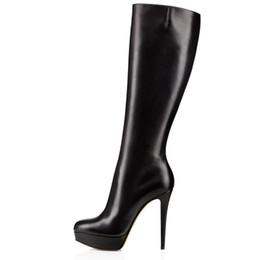 86d38a047 ... Sapatos de Salto Fino Mulheres Na Altura Do Joelho Botas Altas Dedo Do  Pé Redondo Preto Sapatos de Plataforma Mulher Botas de Motociclista Tamanho  35-45