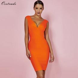 Wholesale sexy club wear dresses xs resale online – Ocstrade Sexy Dress Club Wear Summer Party Dress New Arrival Orange Deep v Neck Women Bandage Dress Bodycon Sleeveless XL T200707