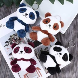 plush stuffed roses UK - Cute Panda Stuffed Doll Cartoon Animal Stuffed Kids Plush Toys Key Chain Bag Pendant 10cm