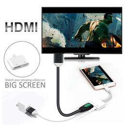 Wholesale Cell Phone HDMI Adapter Pin to Digital AV Adapter HDMI K USB Cable Connector P HD for Phone i7 i8 X Big Screen Show