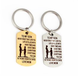 "pendant couple boy girl UK - Square Pendant Key chains ""To My Kids"" Series Inspirational Keychains Adult Ceremony Birthday Gifts Couple Jewelry"