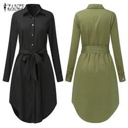 $enCountryForm.capitalKeyWord Australia - Spring Long Sleeve Blouse Shirt Dress With Belt Women Oversized Midi Dress Retro Tunic Casual Office Work Vestidos Plus Size 5xl MX190727