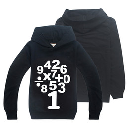 Discount boys cotton hoodies - 2 Colors Boys Long Sleeves T-shirt MATHS Arabic Numerals Printed 6-14y Kids Hoodies Sweatshirts kids designer clothes bo