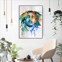 bedroom painting portraits Australia - Bob Marley Portrait Print Colorful Watercolor Poster Canvas Painting Wall Art Pictures For Living Room,Bedroom Decorative Art
