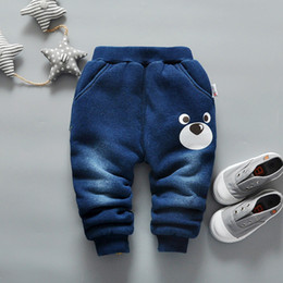 Baby Cotton Winter Tights Pants Canada - good quality baby boys pants winter infant boys cotton denim thick trousers fashion warm velvet pants bebe boy winter sports clothes