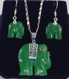$enCountryForm.capitalKeyWord Australia - Necklace Natural green jade elephant Pendant Necklaces Earrings Set Costume Jewellery