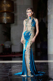 Fancy Prom Dresses Australia - 2019 New Gorgeous Blue High Neck Evening Dress Appliques Middle East Satin Party Dress Fancy Sleeveless Prom Gowns 828
