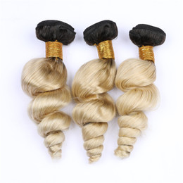 "$enCountryForm.capitalKeyWord Australia - Dark Roots #1B 613 Blonde Ombre Loose Wave Indian Virgin Hair Weave Bundles 3Pcs Ombre Blonde Wavy Human Hair Wefts 10-30"" Mixed Length"