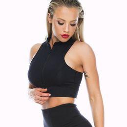 0fc8f0ba29 streetwear femme 2019 fashion tops women sexy tank top summer v neck zipper  bustier crop top t shirt harajuku short Vest