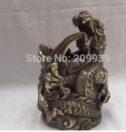 china ball lighting Canada - NEW China Bronze Collect Dragon Head Ball Statue Pencil Vase Pot Brush Barrel Holder (A0314)